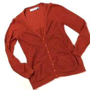 Anthropologie Sparrow Linen knit rust cardigan